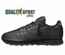 Reebok CL Clásico Leather Negro Hombre Piel Zapatos Deportivos Zapatillas 2267