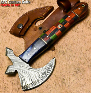SFK Hand Forged Damascus Steel Hard Wood Hunting Clever Chopper Axe Knife