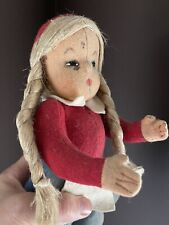 ❤️ RARE Antique Center Seam Felt Girl Doll, 1920-1930 Steiff ? Kersa ? Schuco ?