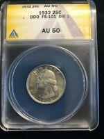 1932 DDO FS-101 DIE 1 Washington Quarter ANACS AU 50 Double Die Obverse
