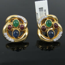 Vintage David Webb Diamond Sapphire Ruby & Emerald Platinum & 18K Gold Earrings