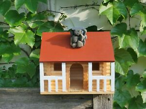 Birdhouse Log cabin hand stained, painted & treated great gift Large fast ship