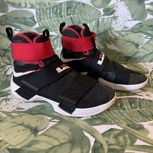 Nike LeBron Soldier 10 SFG Bred Black/Black University Red Sz 10 844378-006