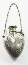 1896 Sampson Mordan London Sterling Silver Sunburst Heart Perfume Bottle 1.75""