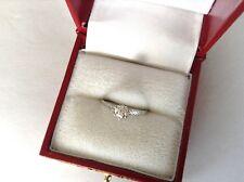 Vtg 18K WG Tiffany Set  Round Solitaire Full Cut .40 TCW Diamond Engagement Ring
