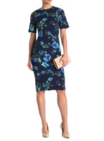 Maggy London Floral Print Sheath Blue Dress Stretch Size 4  6   NWT