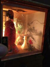 Vintage Mid Century Geisha Diorama Box Lamp- antique nightlight post-war Japan