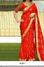 Wedding PartyWear Indian Bollywood Fancy Sari Designer Red Silk Jequard Sarees