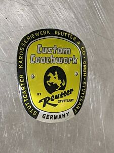 Porsche 356 A Reutter Badge / Near-new Repro / NO RESERVE