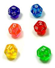 6er Set/ 12 Seitige Würfel Ziffern/ D12/W12/farbig transparent Bunt/Zahlen 1-12