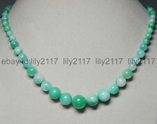 "Fashion 6-14MM Natural Light Green Jade Round Gemstone Beads Necklace 18"""