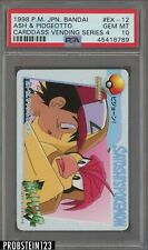 1998 Pokemon Japanese Bandai Carddass Vending Series 4 Ash & Pidgeotto PSA 10