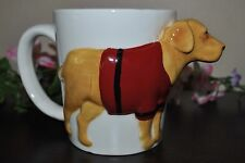 NEW AMERICAN ATELIER 3D Shaped GOLDEN RETRIEVER LAB Dressed DOG Mug Hand Painted