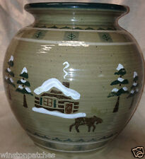 "SONOMA HOME GOODS LODGE BEAN POT NO LID 8"" COOKIE JAR CABIN MOOSE & TREES"