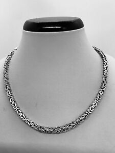"""925 Sterling Silver Square Byzantine Chain/Necklace Oxidized 4mm size 16""""-30"""""""