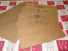 25 Vintage Style Kraft Card Postcards &  Envelopes FREE P&P Wedding Invitations