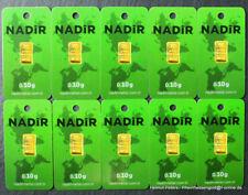 GOLDBARREN 15 Stück je 0,10 Gramm 999.9 Gold 24 Karat NADIR LBMA Zertifikat NEU!