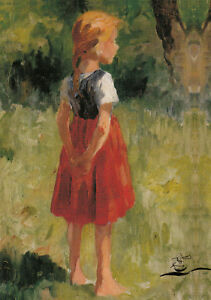 Kunstkarte: Thomas Herbst - Mädchen in rotem Rock