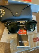 New Genuine RAY-BAN Classic CLUBMASTER RB3016 Black (51mm) Sunglasses G-15 Green