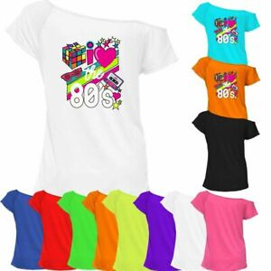 Ladies I Love The 80s Music T Shirt Womens Off Shoulder Sexy Retro Party Top