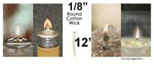 1/8 Round Cotton Wick 12' Kerosene Lantern Lamp Tiki Rock Candle Wick USA Seller
