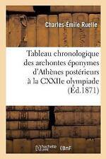 Tableau Chronologique des Archontes Eponymes d'Athenes Posterieurs a la...