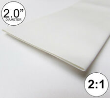"""2"""" ID White Heat Shrink Tube 2:1 ratio 2.0"""" wrap (2x24""""= 4 feet) inch/ft/to 50mm"""