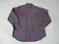 VINTAGE Tommy Hilfiger Button Up Shirt Adult Small Green Red Plaid Crest Men 90s