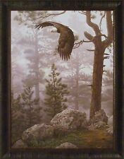 SHROUDED FOREST by Daniel Smith 28x36 FRAMED PRINT Eagle Soaring Woods Rocks