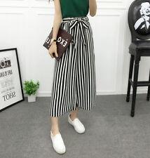 Women Wide Leg Stripes High Waist Loose Baggy Casual Striped Crop Pants Trousers
