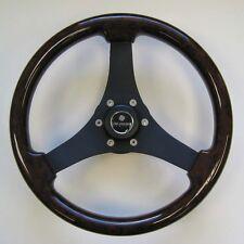 New OEM Gussi Boat Steering Wheel M71 Faux Dark Burl Rim & Black Spoke