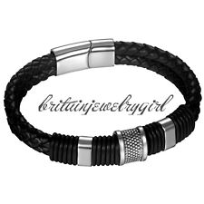 "9"" Mens Leather Bracelet Stainless Steel Magnetic Buckle Braided Wrist Bangle"