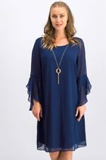 Thalia Sodi Bell Sleeve Shirt Dress with necklace Navy Size M New With Tags