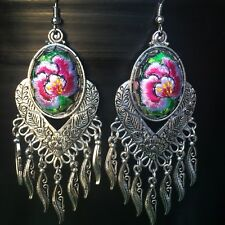 Embroidered ear ring刺繡流蘇耳環