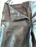 WAYNE COOPER BLACK MID RISE STRAIGHT LEG 100% LEATHER PANTS SIZE 1. EXC CON .