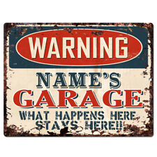 PP4232 WARNING NAME'S GARAGE Custom Personalized Chic Sign Decor Funny Gift