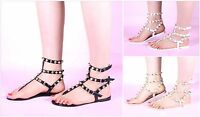 New Womens Ladies Summer Flat Gold Studded Strappy Gladiator Sandals Shoes Size