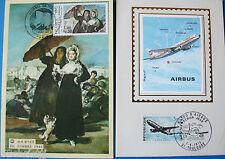 CARTE MAXIMUM-PREMIER JOUR-AIRBUS 1973+JOURNEE DU TIMBRE 1981