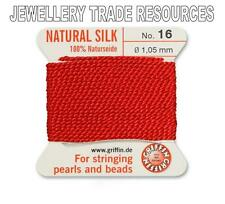 RED SILK STRING THREAD 1.05mm STRINGING PEARLS & BEADS GRIFFIN SIZE 16