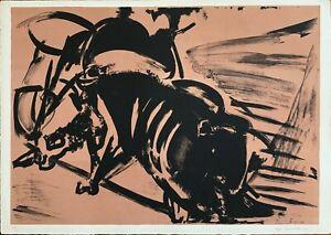 Ugo Capocchini litografia Tauromacchia 70x50 firmata numerata pubblicata 1970