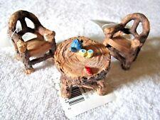 3 pc. True Living Outdoors Mini Fairy Garden Furniture Set – Wood Look Chairs &