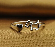 Pop SIMPLE COOL  silver plated Lady Ring Finger Opening Adjustable Dog GT