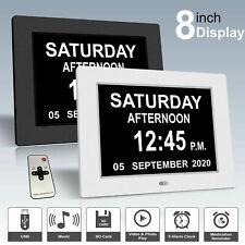 LED Clock Large Digital Wall Calendar Dementia Date Day Week Month Year Xmas AU