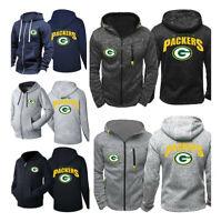 Green Bay Packers Hoodie Football Hooded Coat Fleece Sweatshirt Full-Zip Jacket