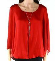 AGB Womens Blouse Red Size Large PL Petite Necklace Pleat Scoop-Neck $58- 931