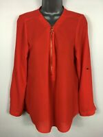 WOMENS DOROTHY PERKINS RED CHIFFON GOLD ZIP UP LONG SLEEVE WORK BLOUSE TOP UK 12