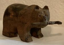 Sculpture, Hand Carved Wood, Bear w/ Fish, Nicely Detailed, Free Shipping