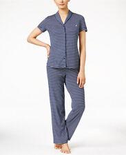 NWT NAUTICA Women's Sleepwear Contrast-Trimmed Printed Pajama Set Navy 2XL