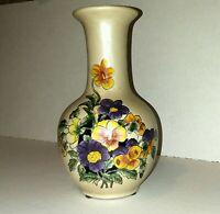 "Vintage Japan Vase Oriental Floral 8"" Tall Pottery Ceramics Signed Numbered"