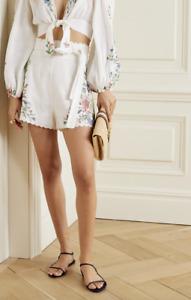 ZIMMERMANN Juliette Belted Scalloped Shorts US Size 4-6 Orig $375 NWT
